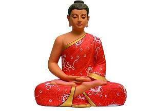 Peaceful Buddha in orange robe